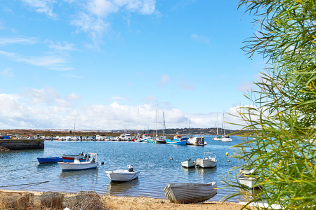 View of fishermens boats in Alvor city, Portugal