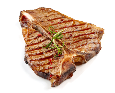 freshly grilled T bone steak isolated on white background