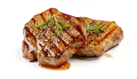 freshly grilled steak isolated on white background Stockfoto