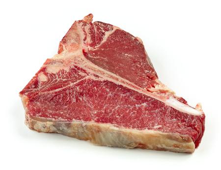 raw T bone steak isolated on white background