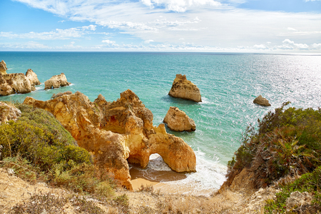 Rocky coast of Atlantic Ocean in Algarve, Portugal