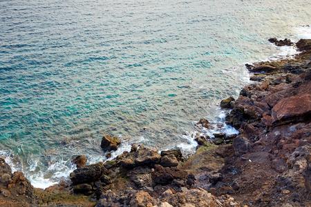 Coastline of Atlantic Ocean in volcanic Lanzarote Island, Canaries, Spain