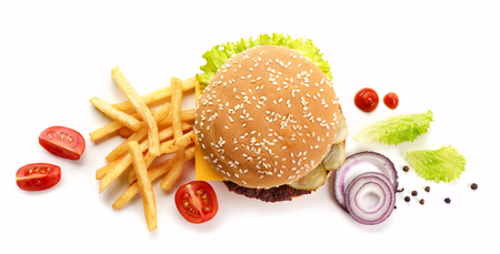 burger and fried potatoes isolated on white background, top view Archivio Fotografico
