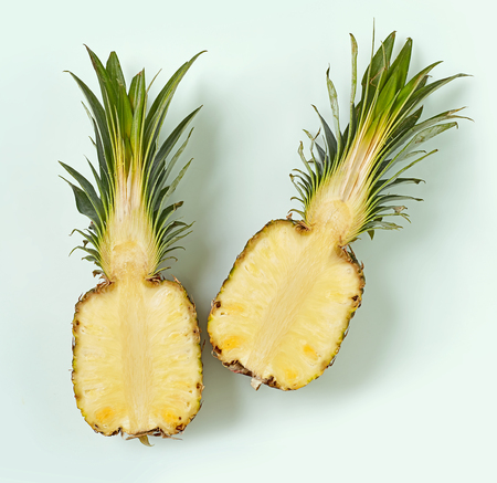 fresh ripe half of pineapple, top view Stock Photo