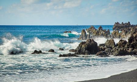 Playa Montana Bermeja, Beautiful landscape of Lanzarote Island, Canaries, Spain Stock Photo