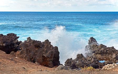 wave splashes of Atlantic ocean, Lanzarote island