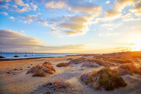 Beautiful Lanzarote island landscape at sunset Stock Photo