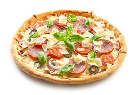 freshly baked pizza isolated on white background