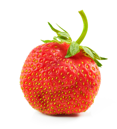 fresh red organic strawberry isolated on white background