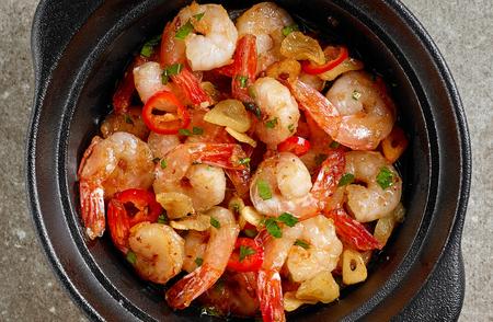 bowl of garlic prawns, top view