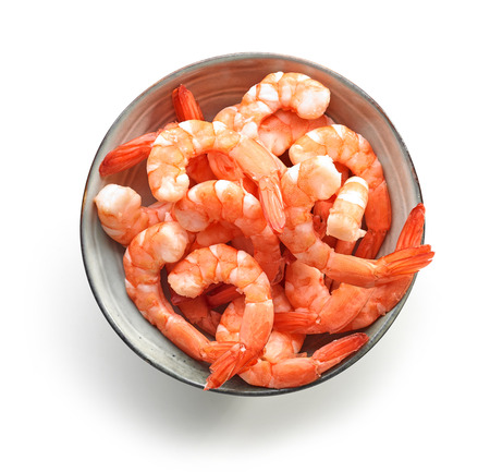 bowl of boiled gambas isolated on white background, top view Stock Photo