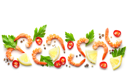 pattern of prawns and spices isolated on white background, top view