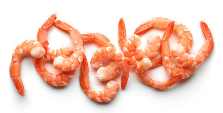 boiled prawns isolated on white background, top view