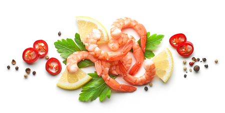 composition of prawns and spices isolated on white background, top view