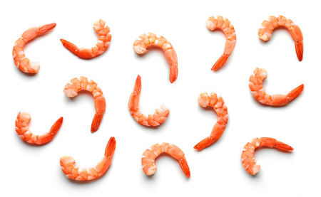 pattern of boiled prawns isolated on white background, top view Stock Photo