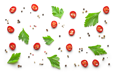 pattern of spices on white background, top view