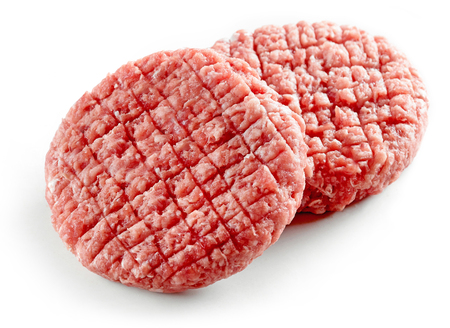 raw burger meat isolated on white background