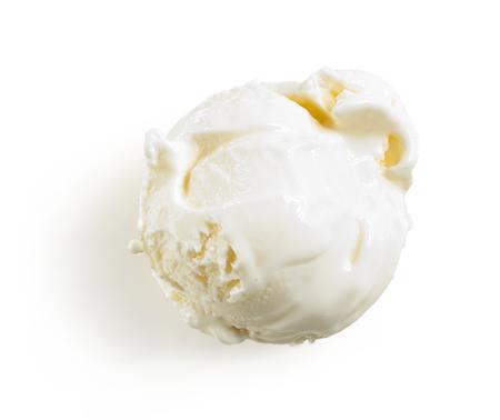 vanilla ice cream isolated on white background, top view Stock Photo