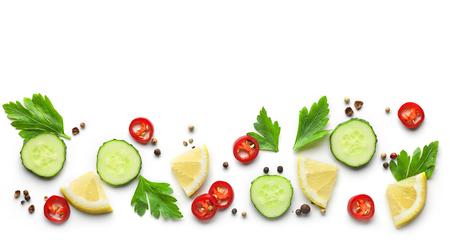 pattern of vegetables isolated on white background, top view
