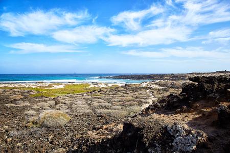 Landscape of Lanzarote Island, Canaries, Spain Stock Photo