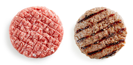 raw and grilled burger meat isolated on white background, top view Reklamní fotografie