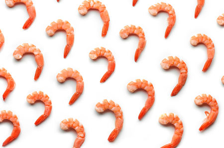 boiled prawn pattern isolated on white background
