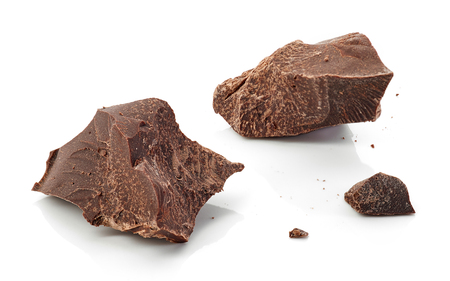 pieces of dark chocolate isolated on white background Stock Photo