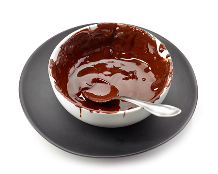 Bowl of melted chocolate isolated on white background