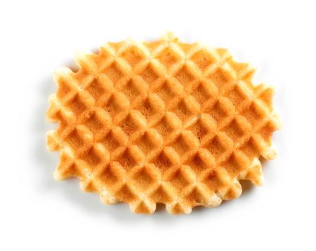 Freshly baked round waffle isolated on white background
