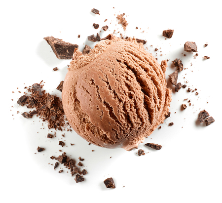 Chocolate ice cream ball and chocolate crumbs isolated on white background Stock fotó