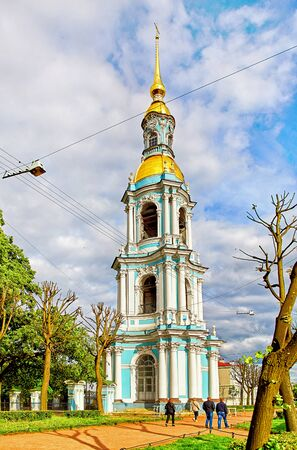 Saint Petersburg, Russia - JUNE 24, 2017: Bell tower of St. Nicholas Naval Cathedral, a major Baroque Orthodox cathedral in the western part of Central Saint Petersburg