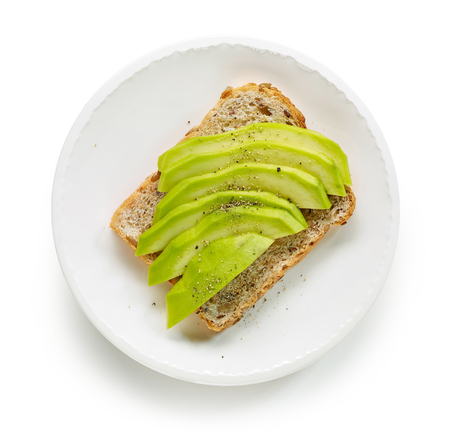 plate of healthy sandwich with fresh avocado isolated on white background, top view