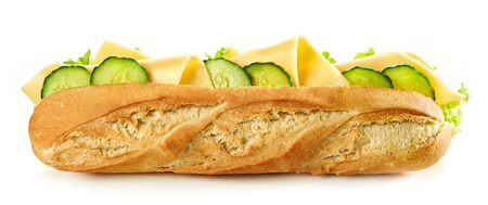 Baguette sandwich with cheese and cucumber isolated on white background