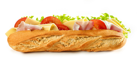Baguette sandwich with cheese and ham isolated on white background