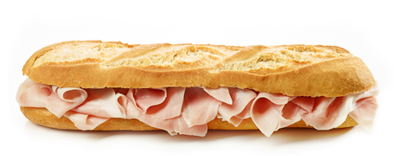 Baguette sandwich with ham isolated on white background Stock Photo