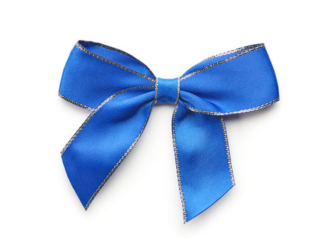 blue decorative bow isolated on white background