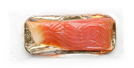 Fillet of salmon vacuum packed isolated on white