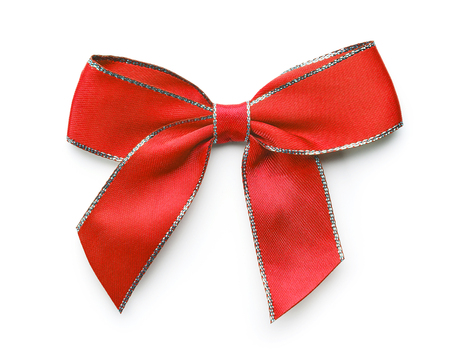 Red decorative bow isolated on white