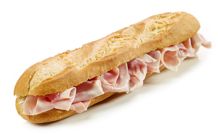 Baguette sandwich with ham isolated on white Stock Photo