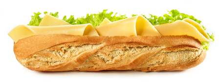 Baguette sandwich with cheese isolated on white