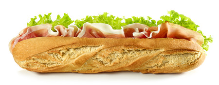 Baguette sandwich with prosciutto isolated on white Stock Photo
