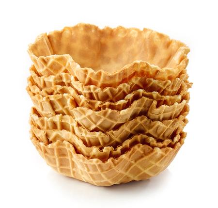 empty waffle baskets isolated on white background