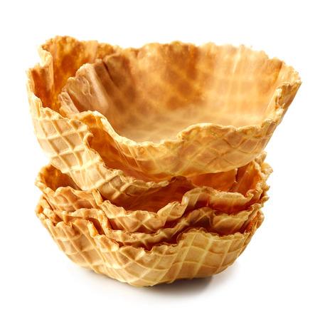 stack of waffle baskets isolated on white background
