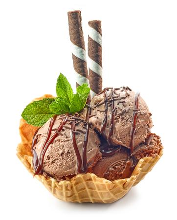 chocolate ice cream in waffle basket isolated on white background