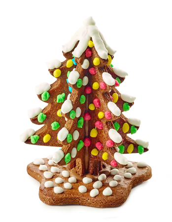 gingerbread christmas tree isolated on white background Stock fotó
