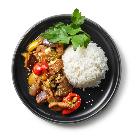 plate of asian food, rice with meat and vegetables isolated on white background, top view Stock fotó