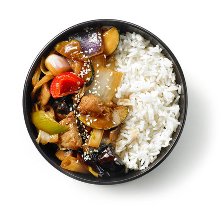 bowl of asian food, rice with meat and vegetables isolated on white background, top view