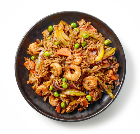 plate of asian food, fried rice with prawns and vegetables isolated on white background, top view Stock fotó