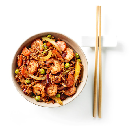 bowl of asian food, fried rice with prawns and vegetables, top view Stock fotó