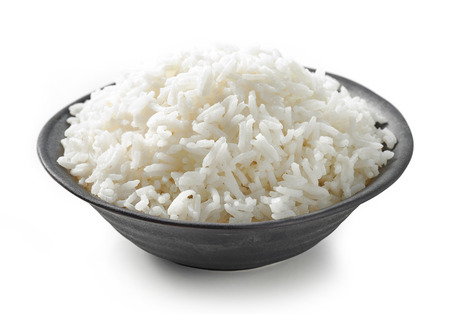 bowl of boiled rice isolated on white background Stock fotó